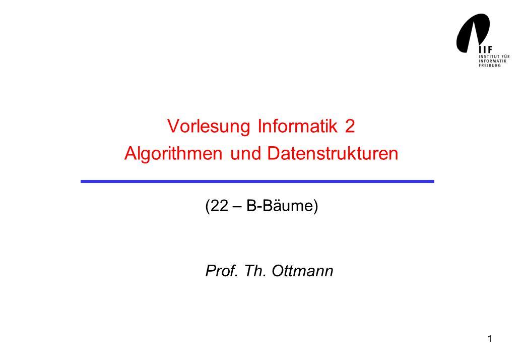 1 Vorlesung Informatik 2 Algorithmen und Datenstrukturen (22 – B-Bäume) Prof. Th. Ottmann