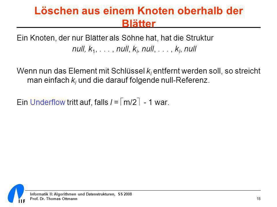Informatik II: Algorithmen und Datenstrukturen, SS 2008 Prof. Dr. Thomas Ottmann18 Löschen aus einem Knoten oberhalb der Blätter Ein Knoten, der nur B