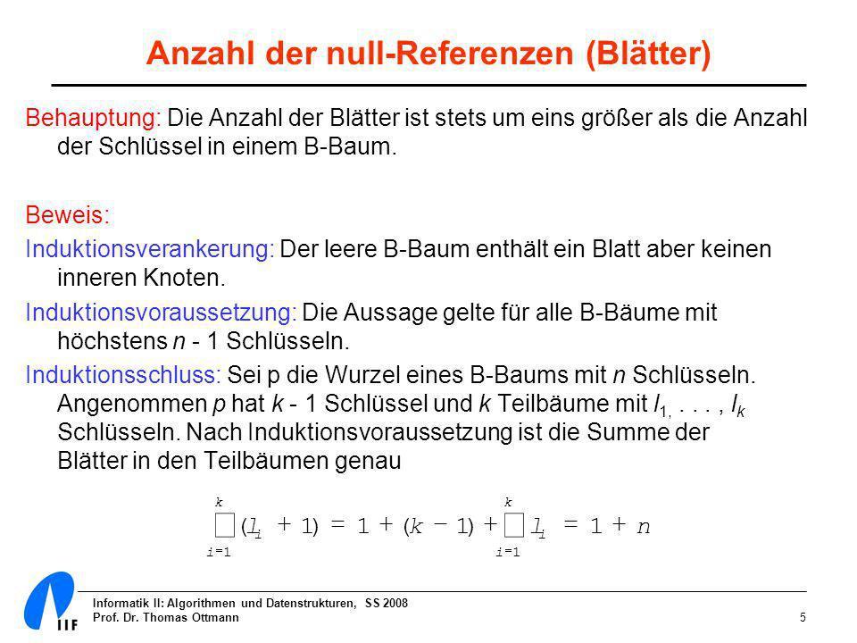 Informatik II: Algorithmen und Datenstrukturen, SS 2008 Prof. Dr. Thomas Ottmann5 Anzahl der null-Referenzen (Blätter) Behauptung: Die Anzahl der Blät