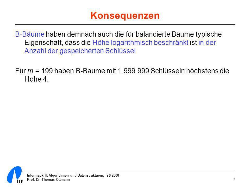 Informatik II: Algorithmen und Datenstrukturen, SS 2008 Prof. Dr. Thomas Ottmann7 Konsequenzen B-Bäume haben demnach auch die für balancierte Bäume ty