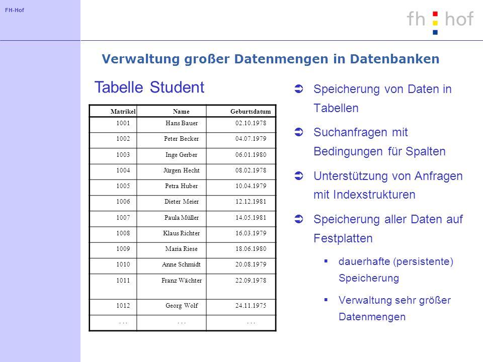 FH-Hof Verwaltung großer Datenmengen in Datenbanken Speicherung von Daten in Tabellen Suchanfragen mit Bedingungen für Spalten Unterstützung von Anfra