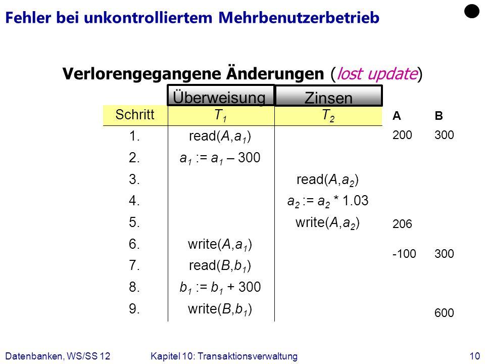 Datenbanken, WS/SS 12Kapitel 10: Transaktionsverwaltung10 Fehler bei unkontrolliertem Mehrbenutzerbetrieb Verlorengegangene Änderungen (lost update) w