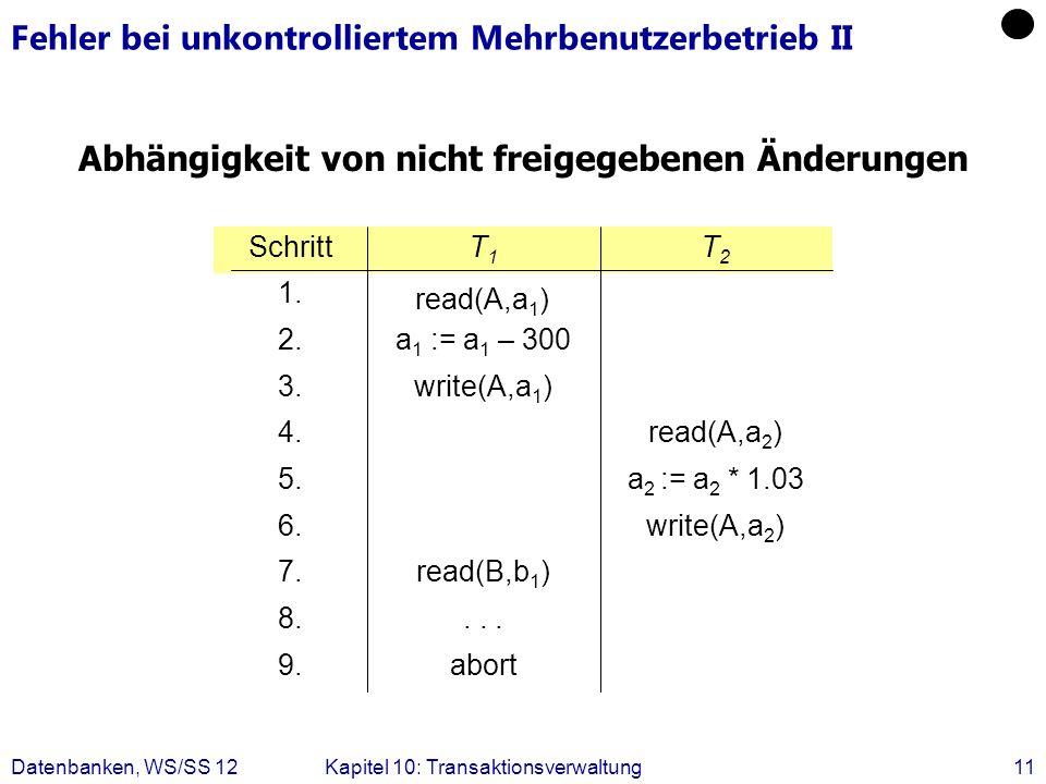 Datenbanken, WS/SS 12Kapitel 10: Transaktionsverwaltung11 Fehler bei unkontrolliertem Mehrbenutzerbetrieb II Abhängigkeit von nicht freigegebenen Ände