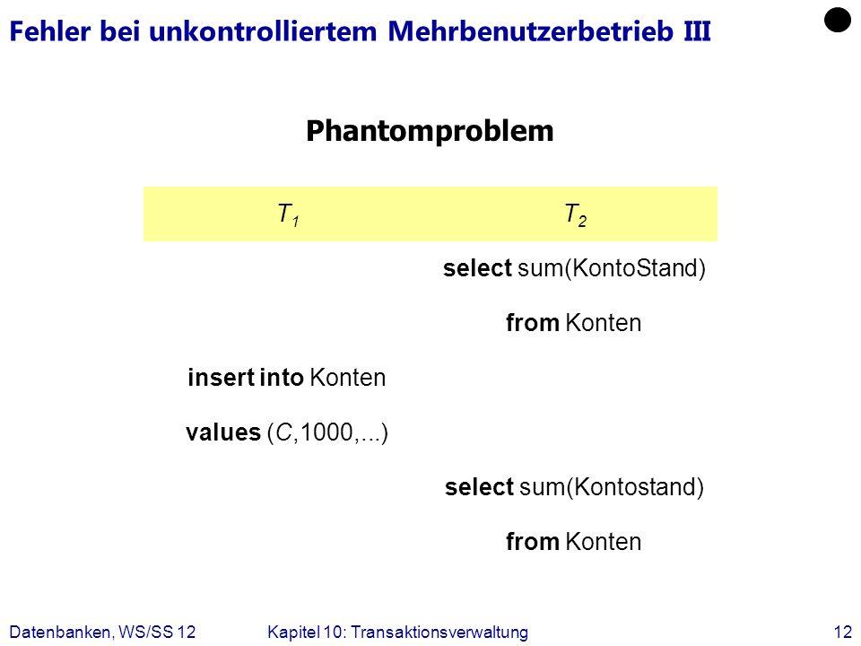 Datenbanken, WS/SS 12Kapitel 10: Transaktionsverwaltung12 Fehler bei unkontrolliertem Mehrbenutzerbetrieb III Phantomproblem T1T1 T2T2 select sum(Kont