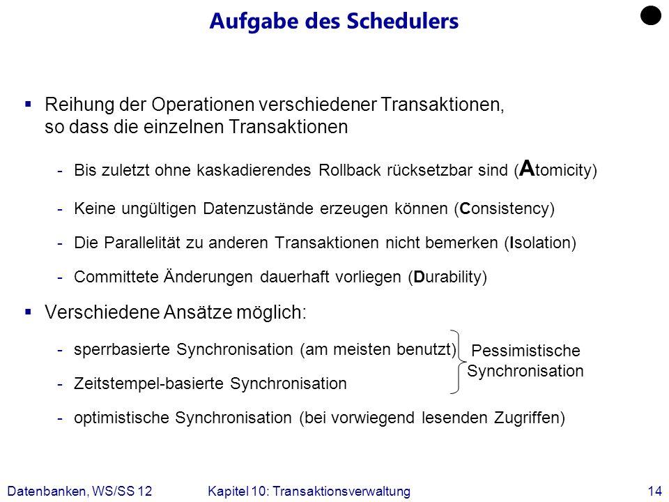 Datenbanken, WS/SS 12Kapitel 10: Transaktionsverwaltung14 Aufgabe des Schedulers Reihung der Operationen verschiedener Transaktionen, so dass die einz