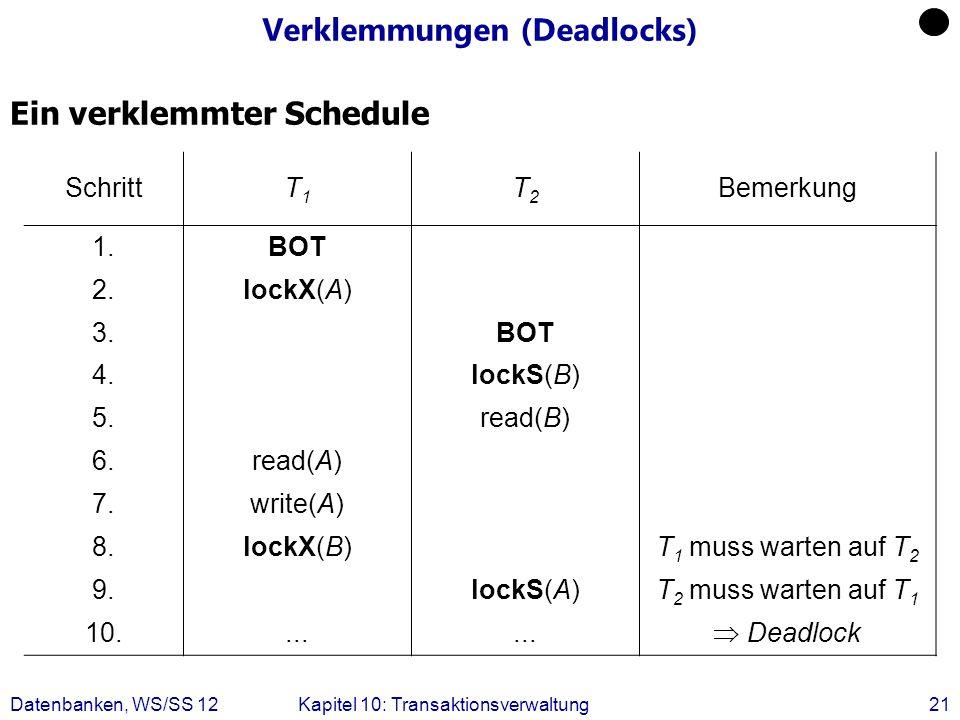 Datenbanken, WS/SS 12Kapitel 10: Transaktionsverwaltung21 Verklemmungen (Deadlocks) Ein verklemmter Schedule SchrittT1T1 T2T2 Bemerkung 1.BOT 2.lockX(