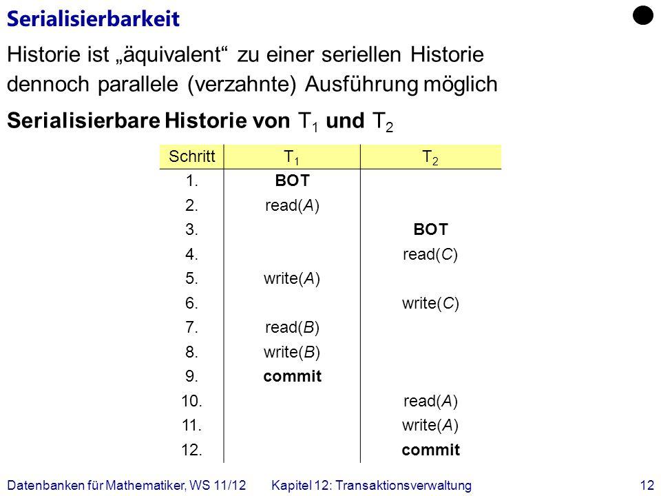 Datenbanken für Mathematiker, WS 11/12Kapitel 12: Transaktionsverwaltung12 Serialisierbarkeit Historie ist äquivalent zu einer seriellen Historie denn