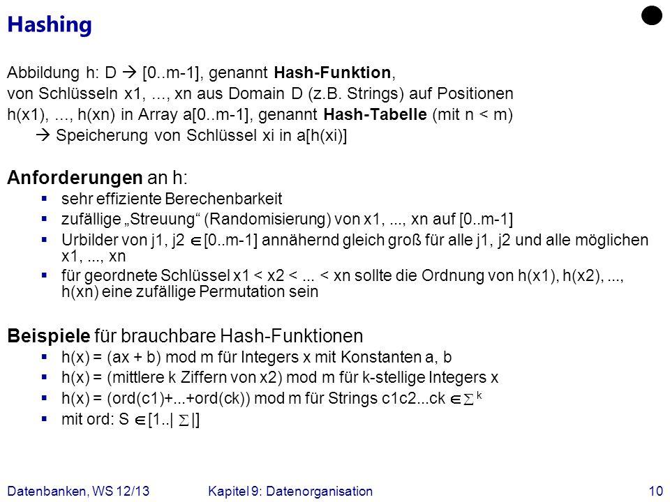 Datenbanken, WS 12/13Kapitel 9: Datenorganisation10 Hashing Abbildung h: D [0..m-1], genannt Hash-Funktion, von Schlüsseln x1,..., xn aus Domain D (z.