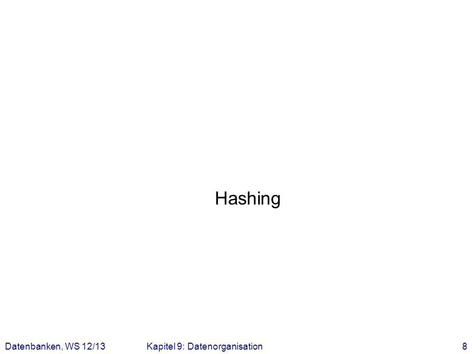 Hashing Datenbanken, WS 12/13Kapitel 9: Datenorganisation8