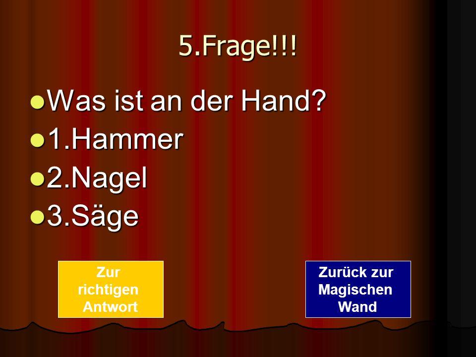 5.Frage!!! Was ist an der Hand? Was ist an der Hand? 1.Hammer 1.Hammer 2.Nagel 2.Nagel 3.Säge 3.Säge Zurück zur Magischen Wand Zur richtigen Antwort