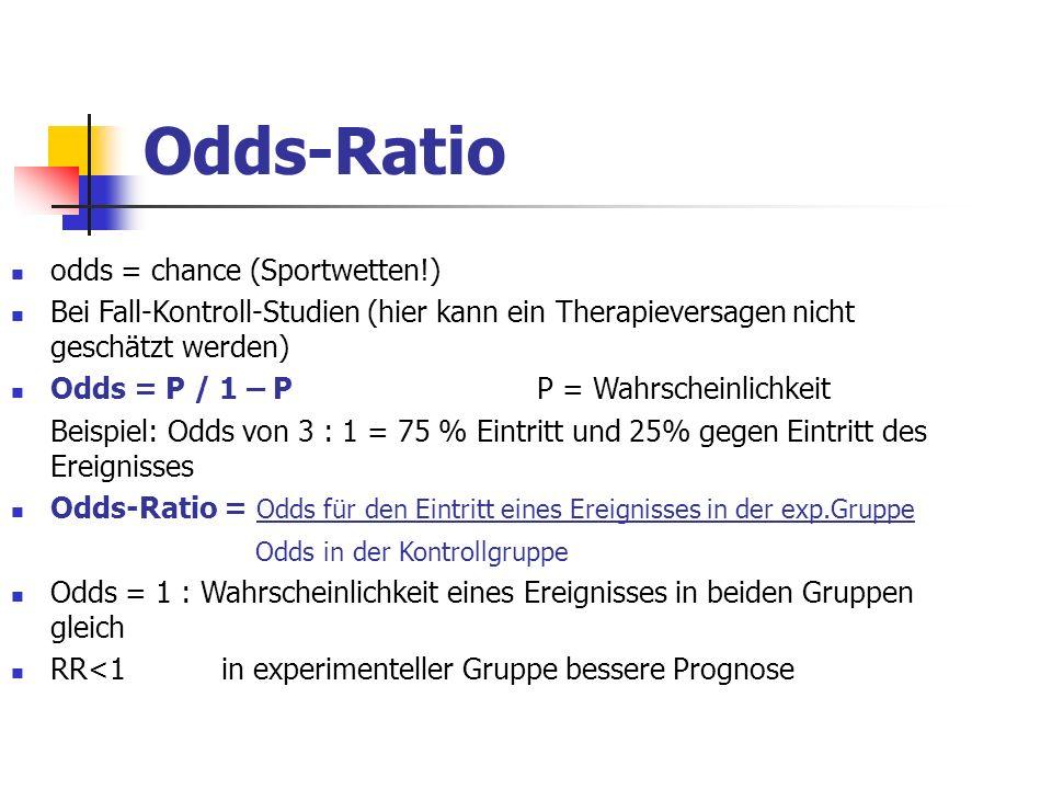 Odds-Ratio odds = chance (Sportwetten!) Bei Fall-Kontroll-Studien (hier kann ein Therapieversagen nicht geschätzt werden) Odds = P / 1 – PP = Wahrsche