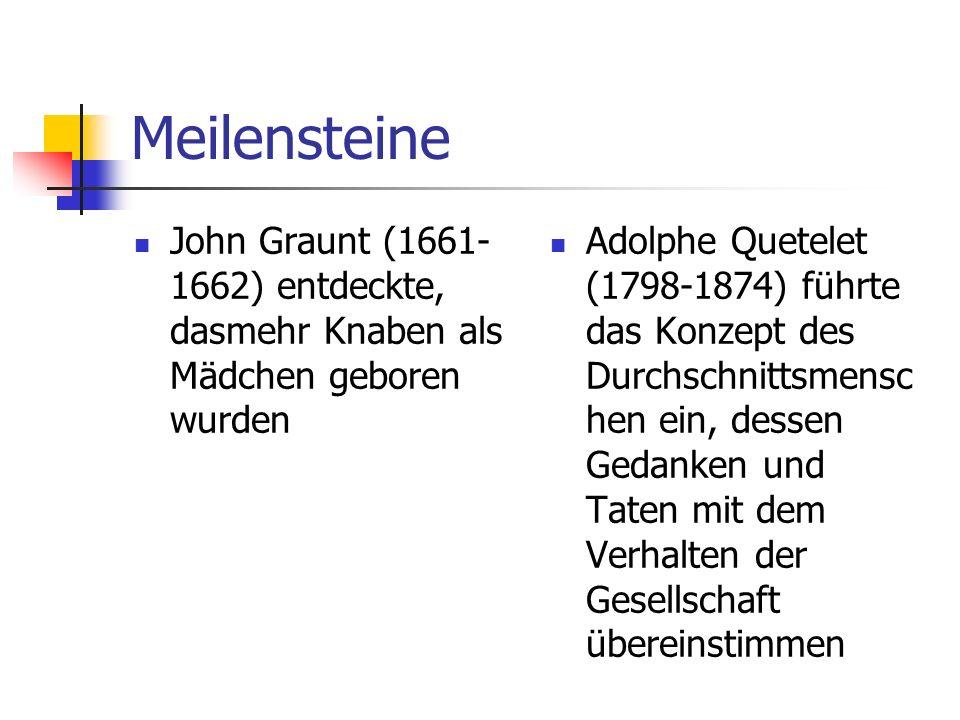 Meilensteine John Graunt (1661- 1662) entdeckte, dasmehr Knaben als Mädchen geboren wurden Adolphe Quetelet (1798-1874) führte das Konzept des Durchsc