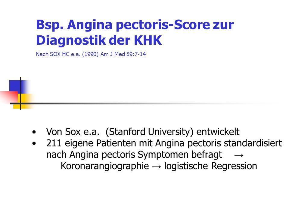 Von Sox e.a. (Stanford University) entwickelt 211 eigene Patienten mit Angina pectoris standardisiert nach Angina pectoris Symptomen befragt Koronaran