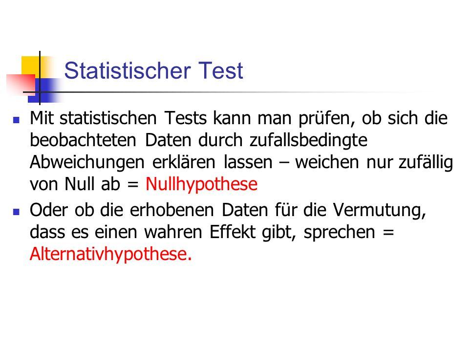 Statistischer Test Mit statistischen Tests kann man prüfen, ob sich die beobachteten Daten durch zufallsbedingte Abweichungen erklären lassen – weiche