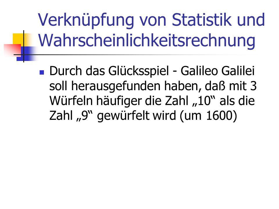 Verknüpfung von Statistik und Wahrscheinlichkeitsrechnung Durch das Glücksspiel - Galileo Galilei soll herausgefunden haben, daß mit 3 Würfeln häufige