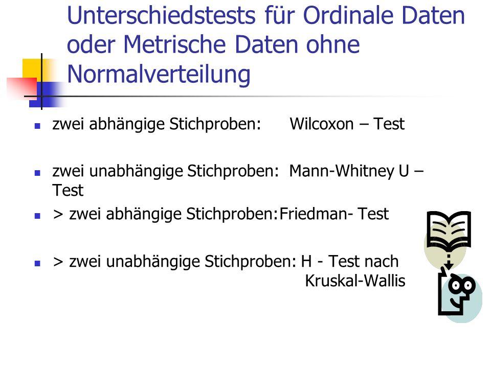 Unterschiedstests für Ordinale Daten oder Metrische Daten ohne Normalverteilung zwei abhängige Stichproben: Wilcoxon – Test zwei unabhängige Stichprob