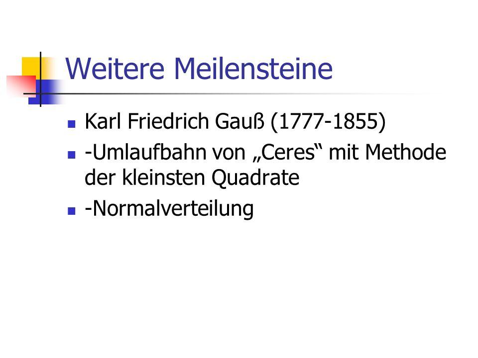 Weitere Meilensteine Thomas Bayes (1702-1763) A-priori Wahrscheinlichkeit A-posteriori Wahrscheinlichkeit