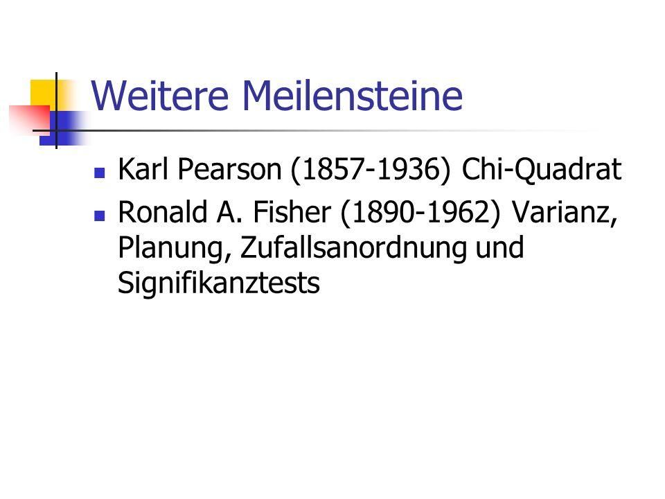 Weitere Meilensteine Karl Pearson (1857-1936) Chi-Quadrat Ronald A. Fisher (1890-1962) Varianz, Planung, Zufallsanordnung und Signifikanztests
