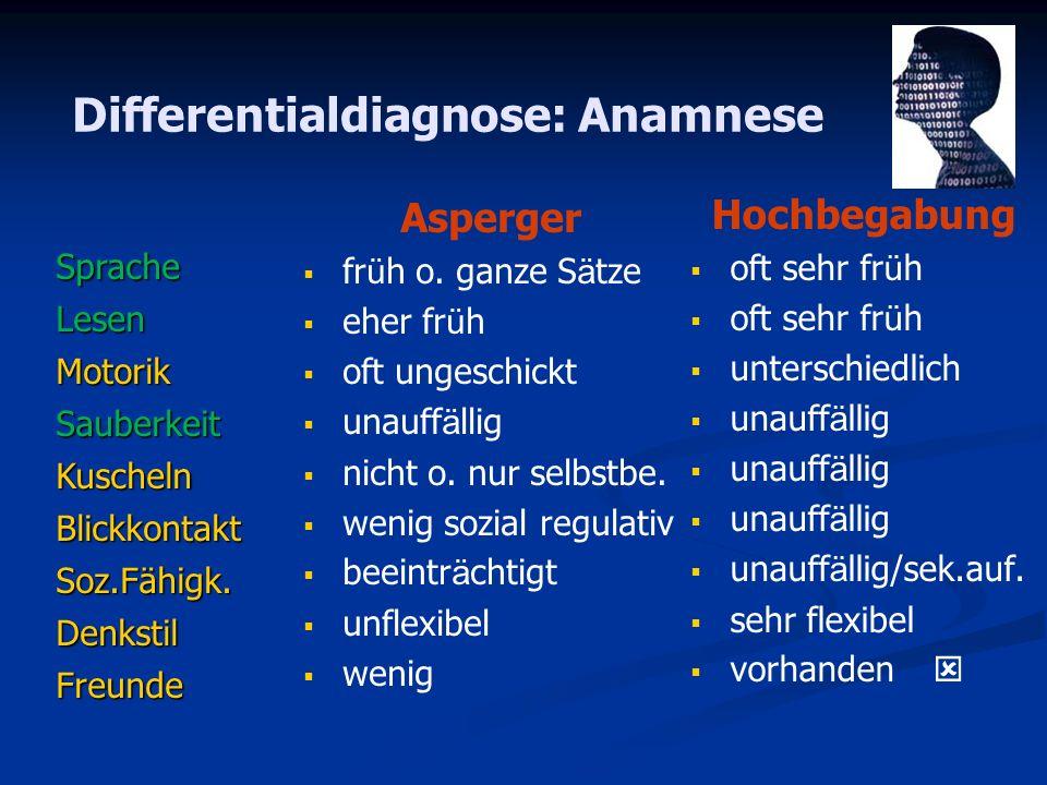 Differentialdiagnose: Anamnese SpracheLesenMotorikSauberkeitKuschelnBlickkontaktSoz.Fähigk.DenkstilFreunde Hochbegabung oft sehr fr ü h unterschiedlic