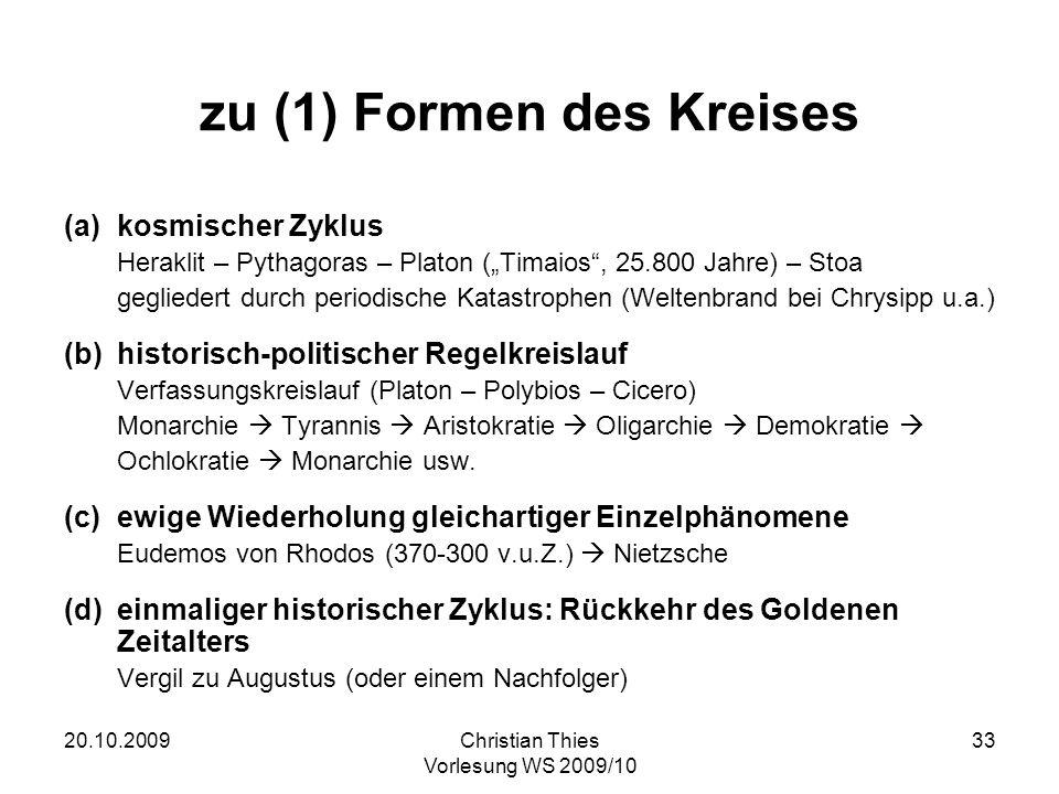 20.10.2009Christian Thies Vorlesung WS 2009/10 33 zu (1) Formen des Kreises (a)kosmischer Zyklus Heraklit – Pythagoras – Platon (Timaios, 25.800 Jahre