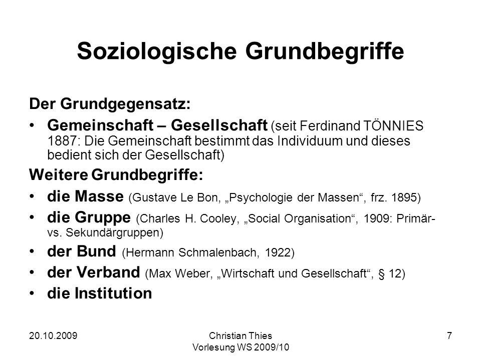 20.10.2009Christian Thies Vorlesung WS 2009/10 7 Soziologische Grundbegriffe Der Grundgegensatz: Gemeinschaft – Gesellschaft (seit Ferdinand TÖNNIES 1