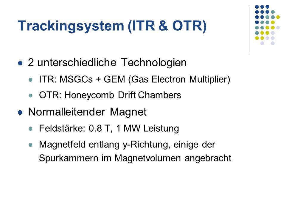 Trackingsystem (ITR & OTR) 2 unterschiedliche Technologien ITR: MSGCs + GEM (Gas Electron Multiplier) OTR: Honeycomb Drift Chambers Normalleitender Ma