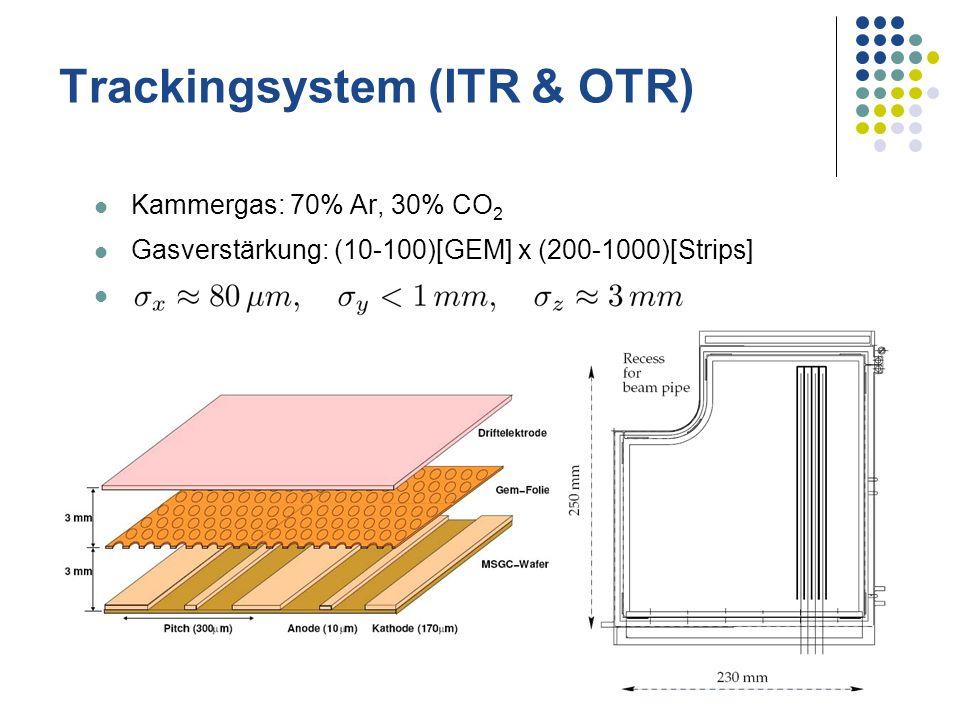 Trackingsystem (ITR & OTR) Kammergas: 70% Ar, 30% CO 2 Gasverstärkung: (10-100)[GEM] x (200-1000)[Strips]