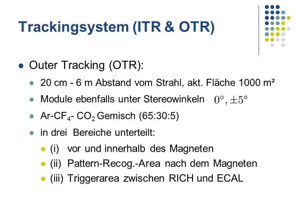 Outer Tracking (OTR): 20 cm - 6 m Abstand vom Strahl, akt. Fläche 1000 m² Module ebenfalls unter Stereowinkeln Ar-CF 4 - CO 2 Gemisch (65:30:5) in dre