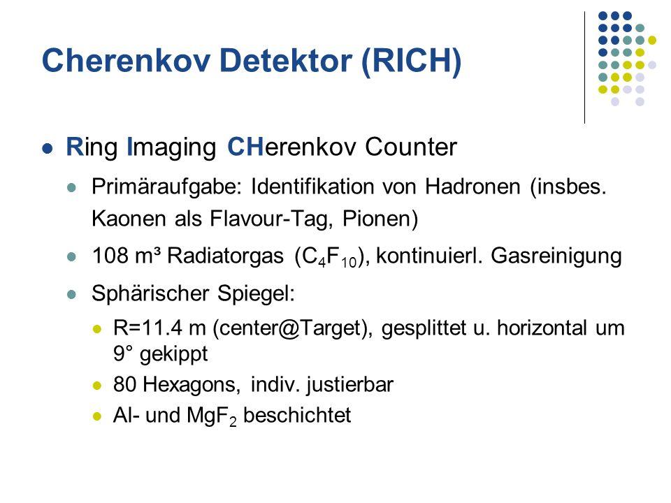 Cherenkov Detektor (RICH) Ring Imaging CHerenkov Counter Primäraufgabe: Identifikation von Hadronen (insbes. Kaonen als Flavour-Tag, Pionen) 108 m³ Ra