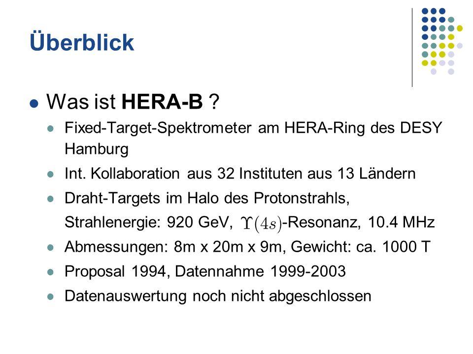 Überblick Was ist HERA-B ? Fixed-Target-Spektrometer am HERA-Ring des DESY Hamburg Int. Kollaboration aus 32 Instituten aus 13 Ländern Draht-Targets i