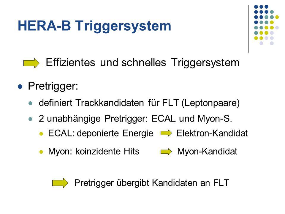 Effizientes und schnelles Triggersystem Pretrigger: definiert Trackkandidaten für FLT (Leptonpaare) 2 unabhängige Pretrigger: ECAL und Myon-S. ECAL: d