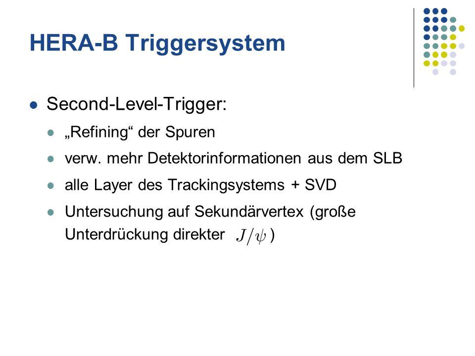 Second-Level-Trigger: Refining der Spuren verw. mehr Detektorinformationen aus dem SLB alle Layer des Trackingsystems + SVD Untersuchung auf Sekundärv