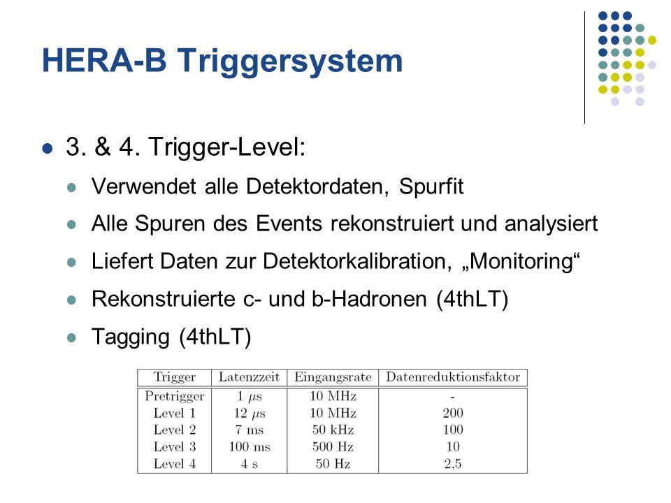 HERA-B Triggersystem 3. & 4. Trigger-Level: Verwendet alle Detektordaten, Spurfit Alle Spuren des Events rekonstruiert und analysiert Liefert Daten zu