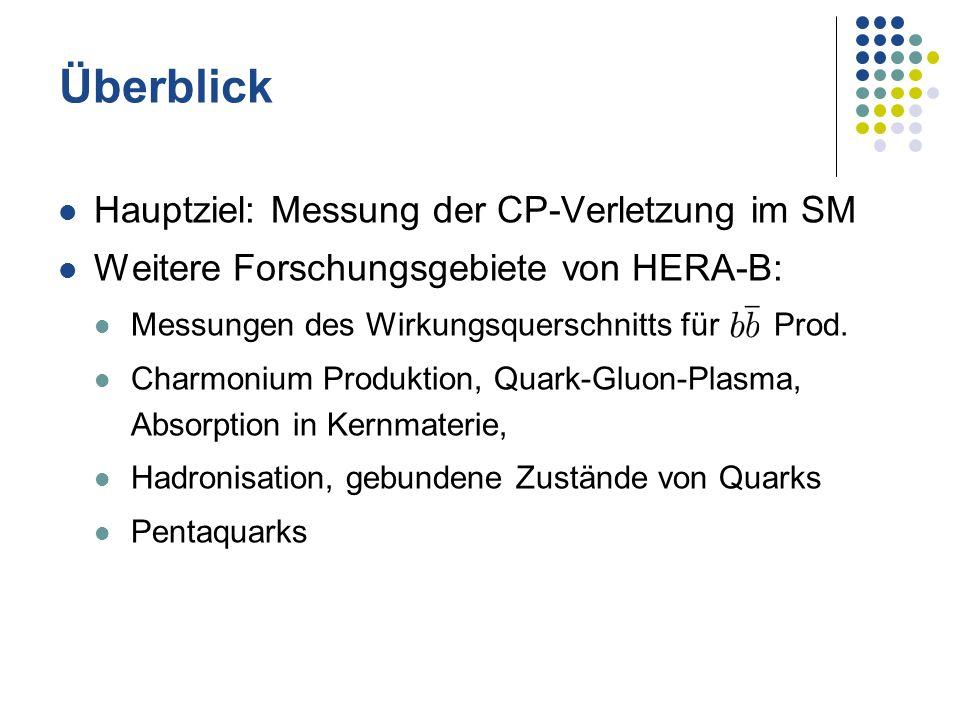 Überblick Hauptziel: Messung der CP-Verletzung im SM Weitere Forschungsgebiete von HERA-B: Messungen des Wirkungsquerschnitts für Prod. Charmonium Pro