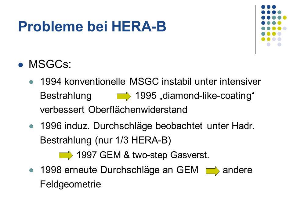 MSGCs: 1994 konventionelle MSGC instabil unter intensiver Bestrahlung 1995 diamond-like-coating verbessert Oberflächenwiderstand 1996 induz. Durchschl