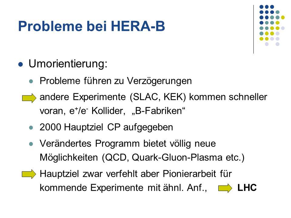 Probleme bei HERA-B Umorientierung: Probleme führen zu Verzögerungen andere Experimente (SLAC, KEK) kommen schneller voran, e + /e - Kollider, B-Fabri