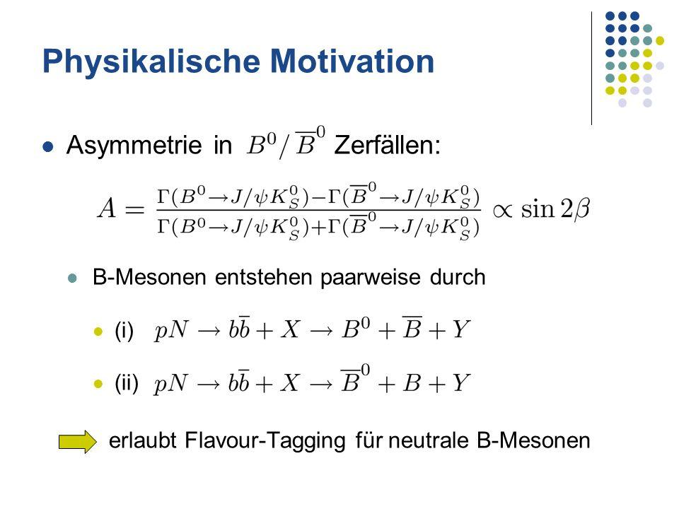 Physikalische Motivation Asymmetrie in Zerfällen: B-Mesonen entstehen paarweise durch (i) (ii) erlaubt Flavour-Tagging für neutrale B-Mesonen