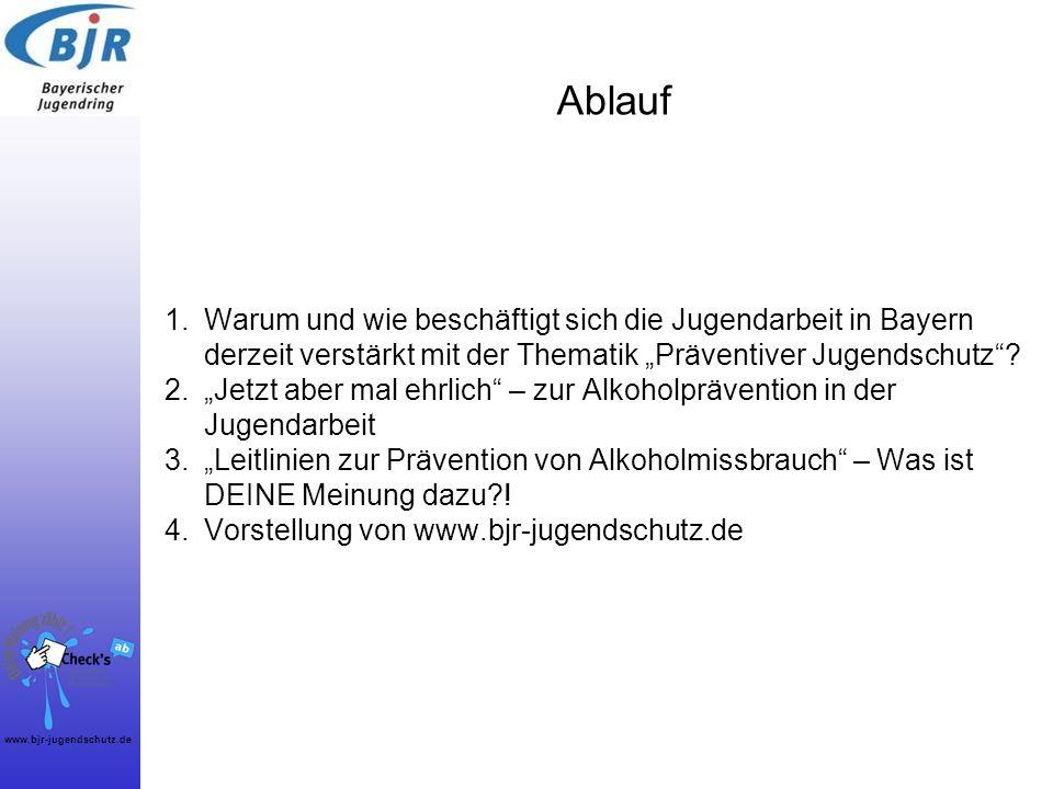 www.bjr-jugendschutz.de Ablauf 1.Warum und wie beschäftigt sich die Jugendarbeit in Bayern derzeit verstärkt mit der Thematik Präventiver Jugendschutz