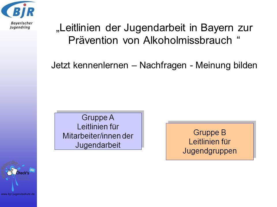 www.bjr-jugendschutz.de Leitlinien der Jugendarbeit in Bayern zur Prävention von Alkoholmissbrauch Jetzt kennenlernen – Nachfragen - Meinung bilden Gr