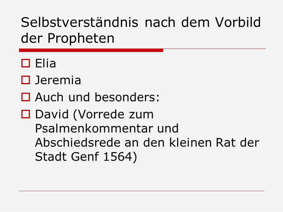 Selbstverständnis nach dem Vorbild der Propheten Elia Jeremia Auch und besonders: David (Vorrede zum Psalmenkommentar und Abschiedsrede an den kleinen