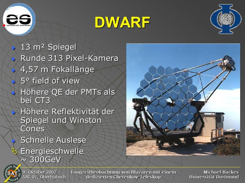 Michael Backes Universität Dortmund 9. Oktober 2007 SAT 07, Obertrubach Langzeitbeobachtung von Blazaren mit einem dedizierten Cherenkov-Teleskop DWAR