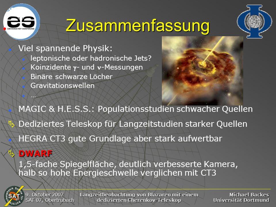 Michael Backes Universität Dortmund 9. Oktober 2007 SAT 07, Obertrubach Langzeitbeobachtung von Blazaren mit einem dedizierten Cherenkov-Teleskop Zusa