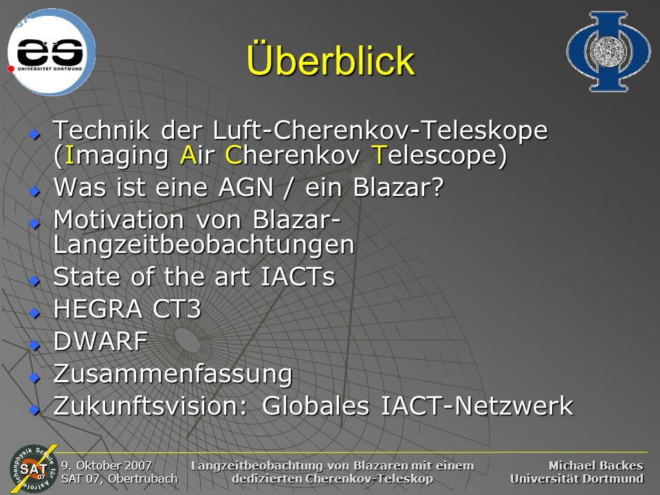 Michael Backes Universität Dortmund 9. Oktober 2007 SAT 07, Obertrubach Langzeitbeobachtung von Blazaren mit einem dedizierten Cherenkov-Teleskop Über