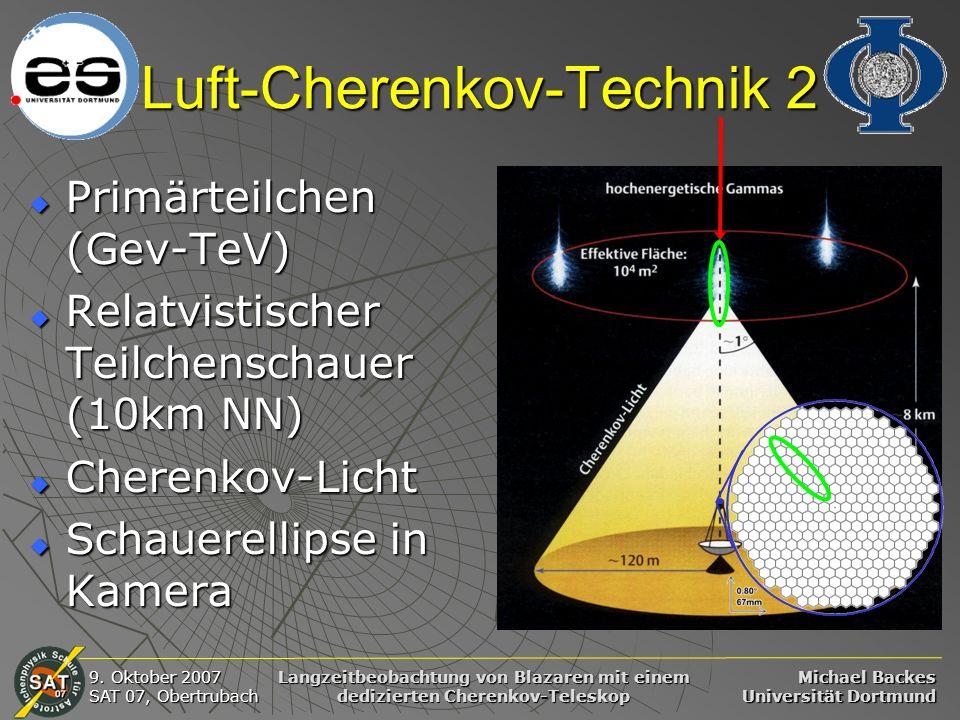 Michael Backes Universität Dortmund 9. Oktober 2007 SAT 07, Obertrubach Langzeitbeobachtung von Blazaren mit einem dedizierten Cherenkov-Teleskop Luft