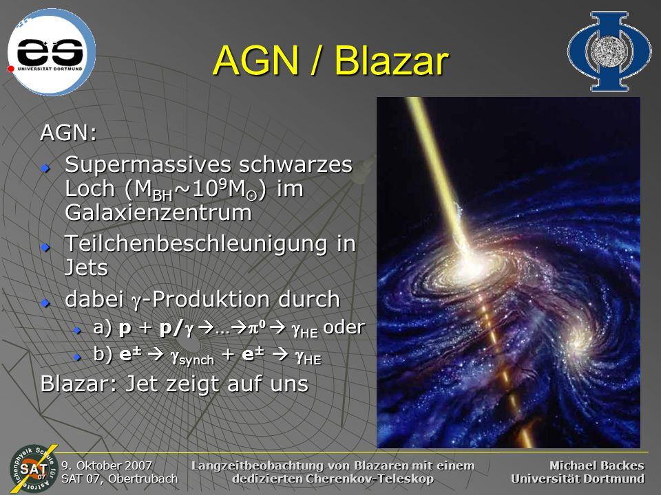 Michael Backes Universität Dortmund 9. Oktober 2007 SAT 07, Obertrubach Langzeitbeobachtung von Blazaren mit einem dedizierten Cherenkov-Teleskop AGN
