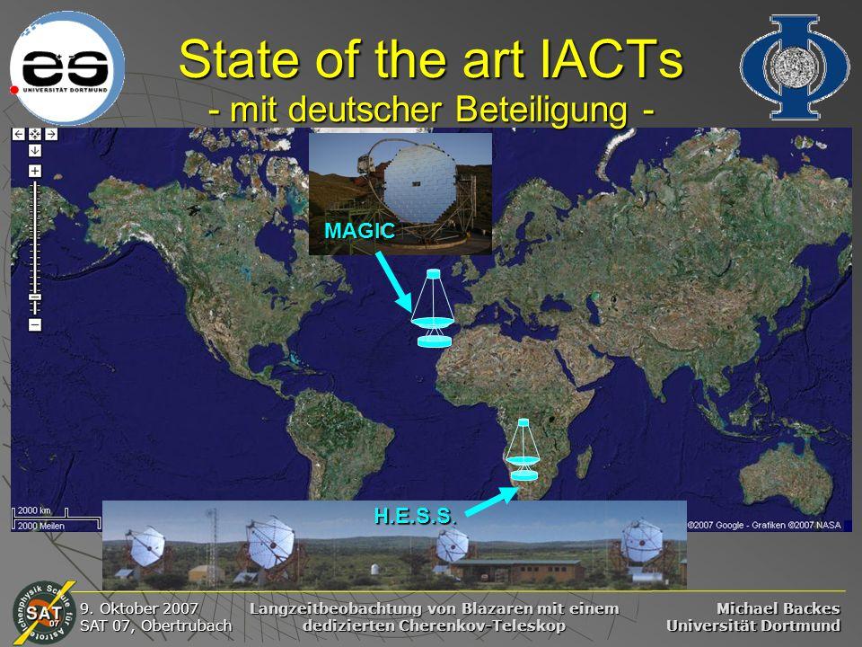 Michael Backes Universität Dortmund 9. Oktober 2007 SAT 07, Obertrubach Langzeitbeobachtung von Blazaren mit einem dedizierten Cherenkov-Teleskop Stat