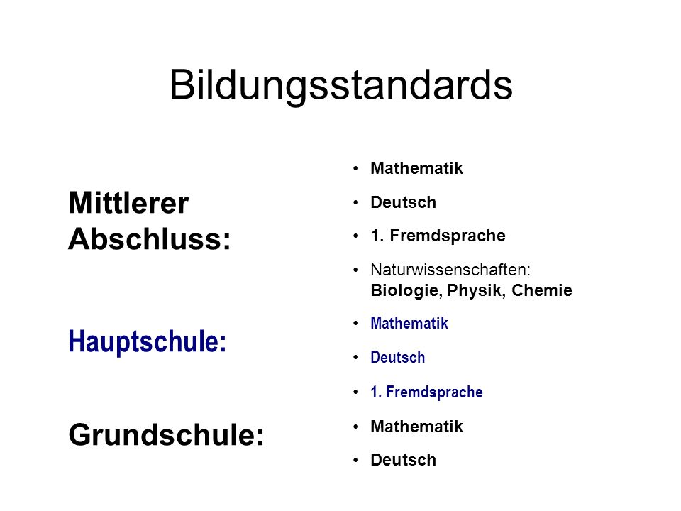 Bildungsstandards Mittlerer Abschluss: Hauptschule: Grundschule: Mathematik Deutsch 1. Fremdsprache Naturwissenschaften: Biologie, Physik, Chemie Math