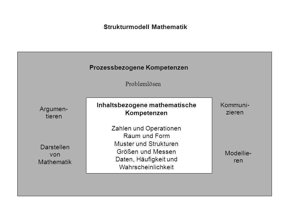 Strukturmodell Mathematik Prozessbezogene Kompetenzen Problemlösen Argumen- tieren Darstellen von Mathematik Kommuni- zieren Modellie- ren Inhaltsbezo