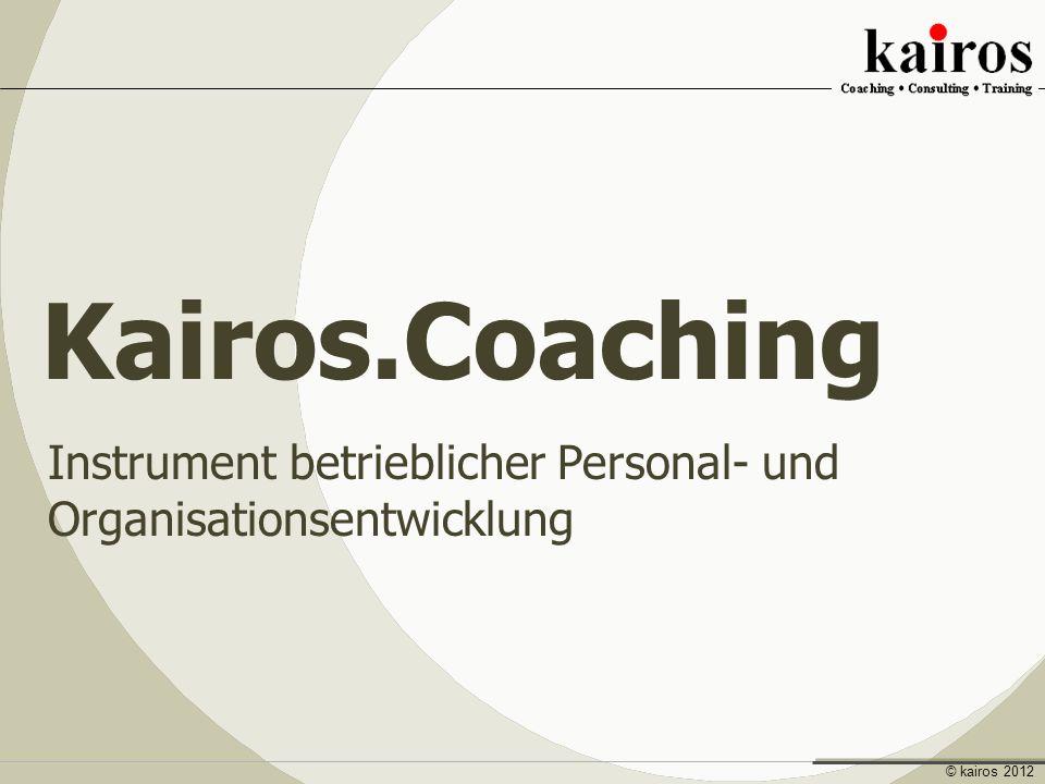 Coaching Instrument betrieblicher Personal- und Organisationsentwicklung Entwicklung Sinn Wandlung Werte © kairos 2012 Instrument betrieblicher Personal- und Organisationsentwicklung Kairos.Coaching