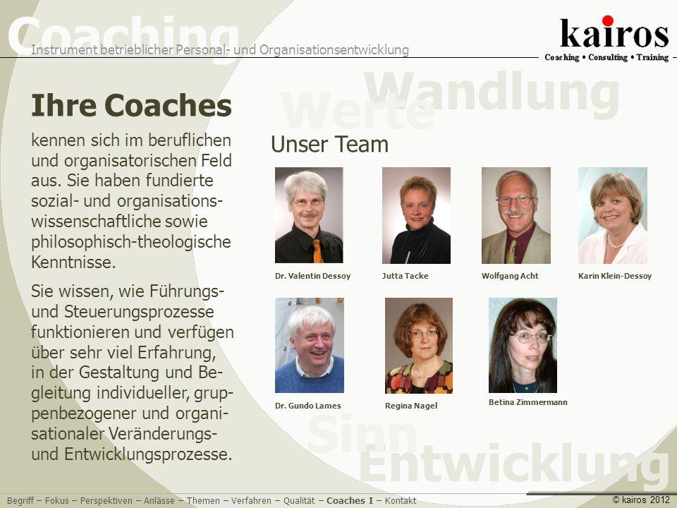 Coaching Instrument betrieblicher Personal- und Organisationsentwicklung Entwicklung Sinn Wandlung Werte © kairos 2012 Ihre Coaches Dr.